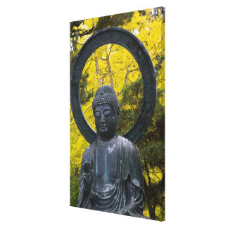Budda Statue in the Japanese Gardens Golden Canvas Print