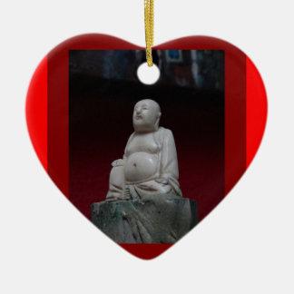 Buddah Antique Sculptrue Red  Gifts by Sharleha Ceramic Ornament