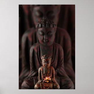 Buddah con la flor de Lotus Póster