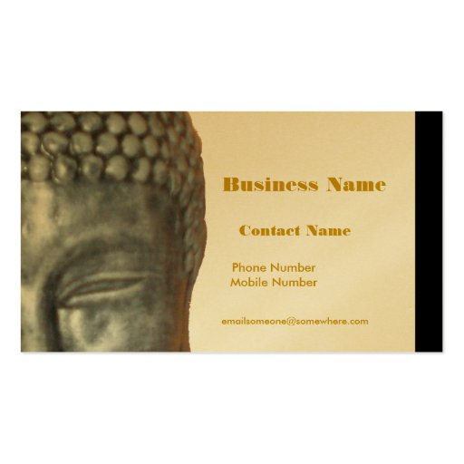 Buddah dirige, oro, tarjeta de visita negra