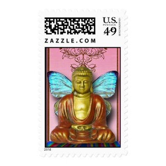 Buddah Fairy...altered art postage stamps