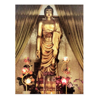 Buddah in the temple postcard