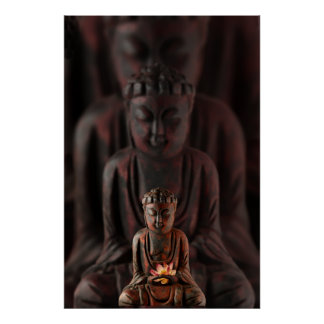 Buddah with Lotus Flower Poster