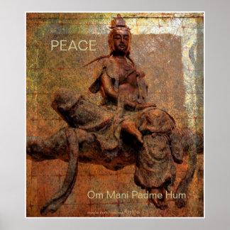 Buddasava of Mercy觀音菩薩 W/Tibetan Mantra Poster