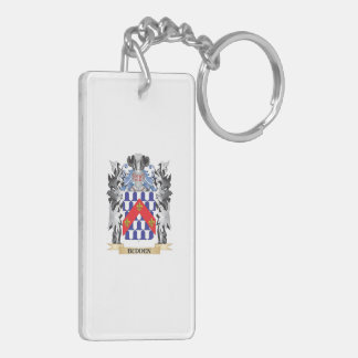 Budden Coat of Arms - Family Crest Double-Sided Rectangular Acrylic Keychain