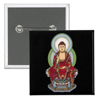 Buddha Abhaya Mudra 2 Inch Square Button