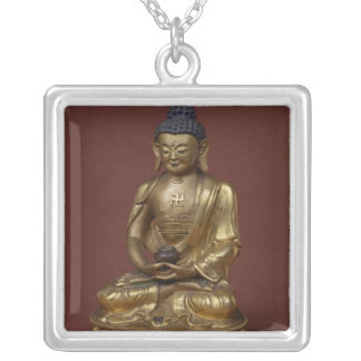 Buddha Amitayus seated in meditation Silver Plated Necklace