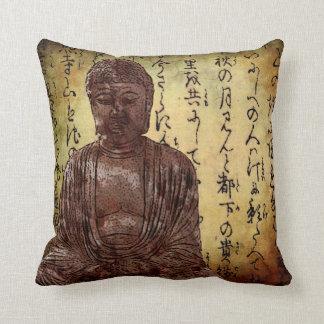 Buddha and Asian writing Throw Pillows
