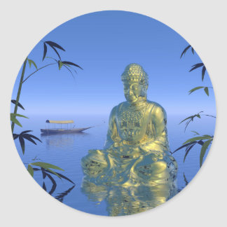 buddha and boat classic round sticker