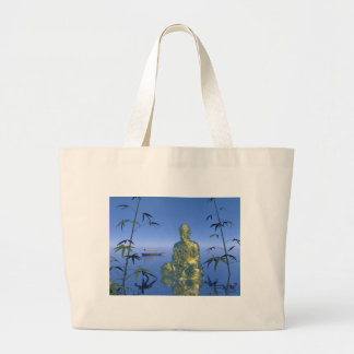buddha and boat large tote bag