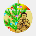 Buddha and Christmas tree Double-Sided Ceramic Round Christmas Ornament