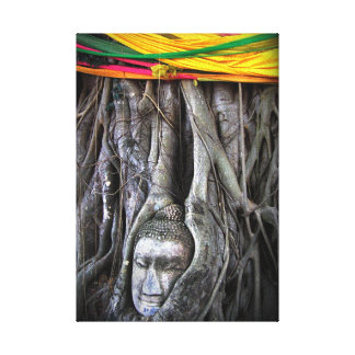 Buddha And The Tree Buddhism Thailand Photography Canvas Print