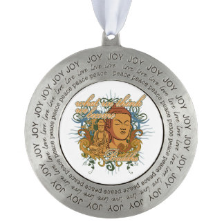 Buddha Become Quote Round Pewter Ornament