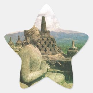 Buddha bell statue, Borobodur temple, Java Star Sticker