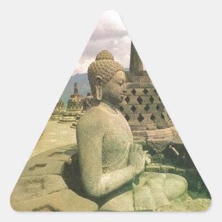Buddha bell statue, Borobodur temple, Java Triangle Sticker