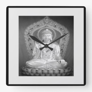Buddha - Black And White Wall Clock
