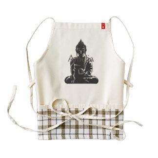 Buddha,black on white,buddhism,peace,zen,yoga,yogi zazzle HEART apron
