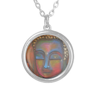 buddha-blessing-white-robe-high round pendant necklace
