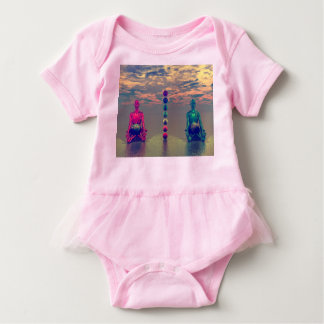 buddha blue and red and chakra baby bodysuit