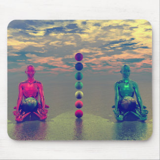 buddha blue and red and chakra mouse pad