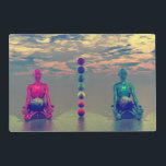 """buddha blue and red and chakra placemat<br><div class=""""desc"""">Zen landscape with chakras</div>"""