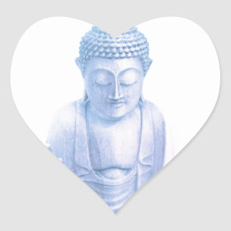 buddha blue and tiny white mouse heart sticker