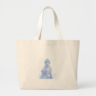 buddha blue and tiny white mouse large tote bag