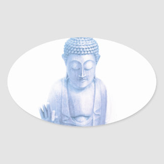 buddha blue and tiny white mouse oval sticker