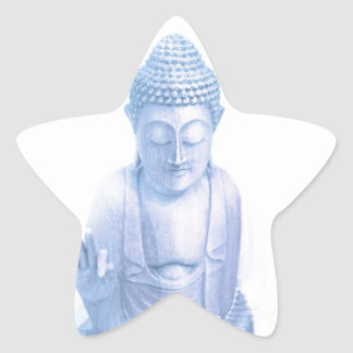buddha blue and tiny white mouse star sticker
