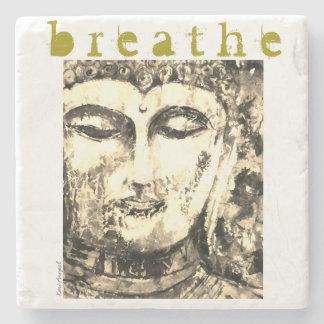 Buddha Breathe Watercolor Art Stone Coaster