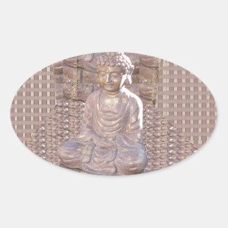 Buddha Buddhist Spiritual Statue Idol Peace Happy Oval Sticker