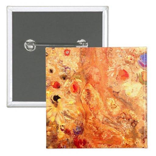 Buddha by Symbolist Painter Odilon Redon 2 Inch Square Button