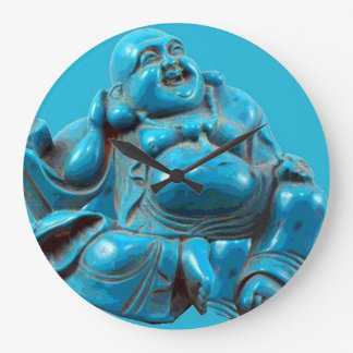 Buddha Carved Turquoise Modern Acryllic Clock