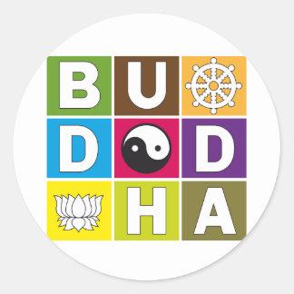 Buddha Colored Blocks Classic Round Sticker