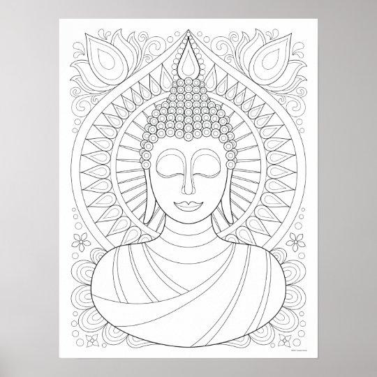 Buddha Coloring Poster Colorable Buddha Art Zazzle Com