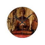 BUDDHA : Copper Statue Round Wall Clock