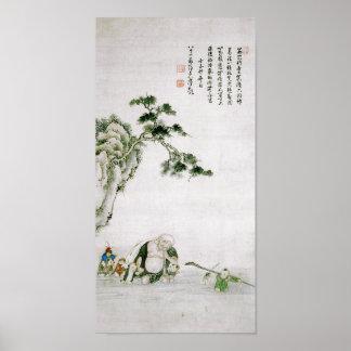 Buddha Crossing River Watanabe Shuseki Fine Art Poster