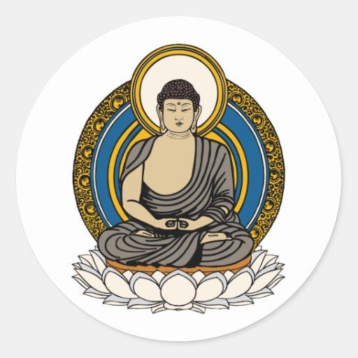 Buddha Dhyana Mudra Classic Round Sticker