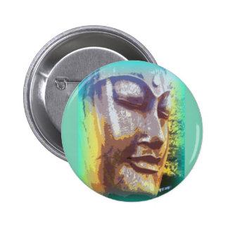 buddha face green 2 inch round button