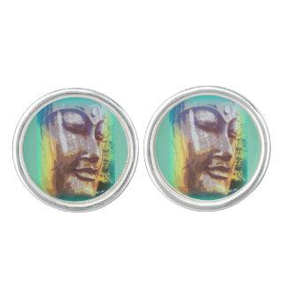 Buddha face green cufflinks