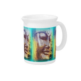 Buddha face green drink pitcher