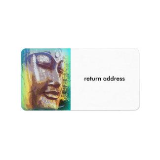 buddha face green label