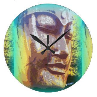 buddha face green large clock