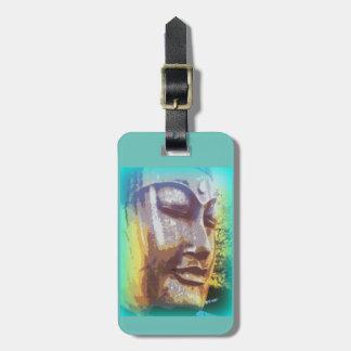 buddha face green luggage tag