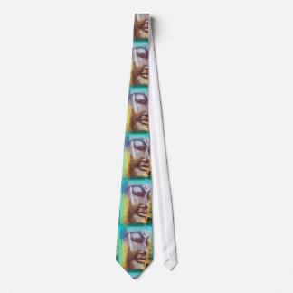 buddha face green neck tie