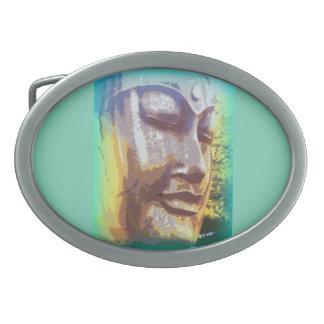 buddha face green oval belt buckle