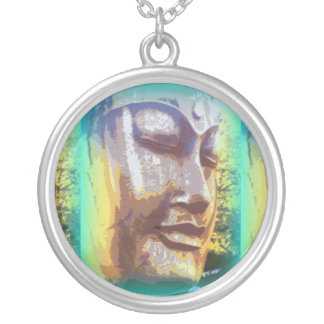 Buddha face green round pendant necklace