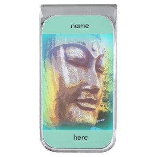 buddha face green silver finish money clip