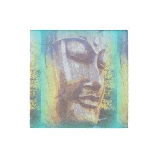 buddha face green stone magnet