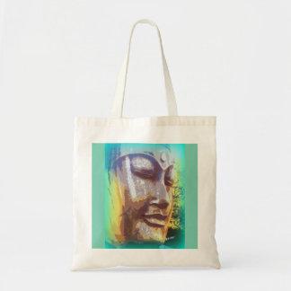 buddha face green tote bag